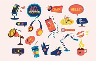 podcast transmissão e streaming conjunto de adesivos de doodle desenhado à mão vetor