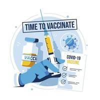 saúde com vacina covid19 vetor