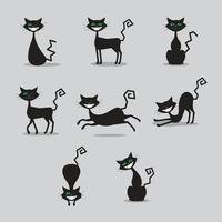 coleção de personagens de halloween gato preto vetor
