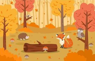 ilustração de paisagem de floresta de flora e fauna de outono vetor