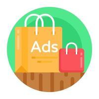 anúncio de compras e bolsas vetor