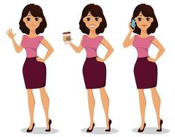 lindo conjunto de mulher de negócios vetor