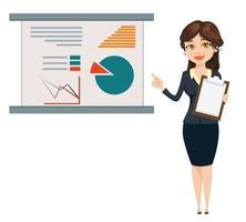 empresária em pé perto da mesa com infográfico vetor