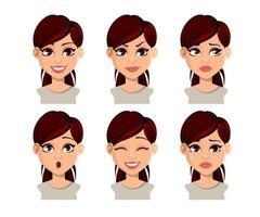 expressões faciais de mulher bonita vetor
