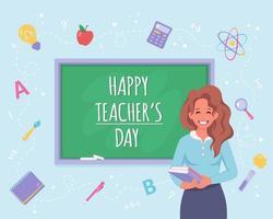 feliz Dia dos professores. professora em sala de aula com quadro-negro. vetor