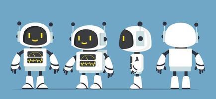 Vetor de conjunto de caracteres de robôs brancos fofos