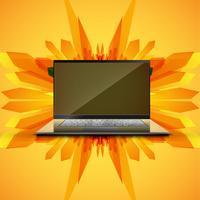 Fundo abstrato amarelo e um computador realista / laptop para o negócio, ilustração vetorial