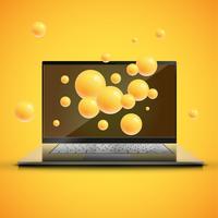 Apresentação de saturação aprimorada do laptop por esferas coloridas por trás, ilustração vetorial