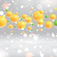 Bolhas amarelas realistas brilhantes flutuando com fundo cinza, ilustrações vetoriais