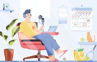 homem produz podcast em sua cadeira confortável em casa vetor