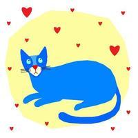 personagem de desenho animado gato para berçário ou impressão de camiseta infantil vetor