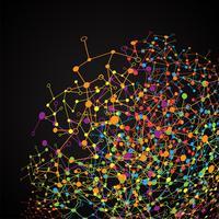 Abstrato base poligonal com pontos conectados e linhas, estrutura de conexão, hud futurista, ilustração vetorial vetor