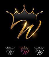 letra inicial w da coroa do monograma dourado vetor