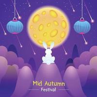 festival do meio do outono com coelho olhando para a lua vetor