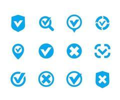 marcas de seleção, conjunto de carrapatos, marca de seleção vetorial, corrigir, falso, sinais de cancelamento vetor