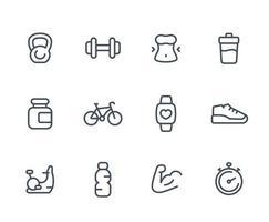 ícones de fitness, conjunto linear em branco vetor
