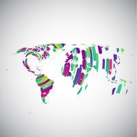 Mapa do mundo abstrato com círculos coloridos para publicidade, vetor