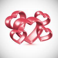 Moldura de coração vermelho 3D, ilustração vetorial