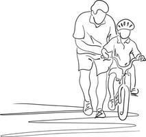 pai ensinando filho com capacete de segurança a andar de bicicleta vetor