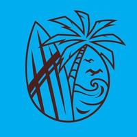 prancha de surf com palmeira. surf conceito de arte em estilo monocromático. vetor