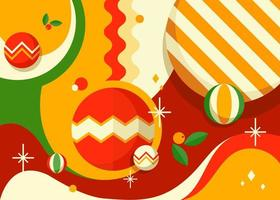 banner com bolas de árvore de Natal. vetor