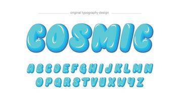 tipografia de desenho animado arredondado azul vetor