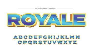 tipografia de desenho animado 3D azul e dourado vetor