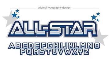 blue chrome 3d gaming tipografia de esportes vetor