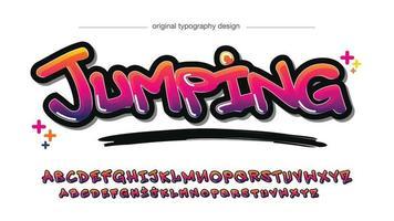 tipografia de grafite pincel amarelo roxo néon negrito vetor