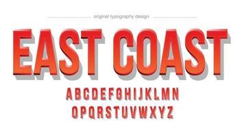 tipografia 3d em caixa alta vermelha vetor