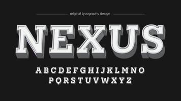 Tipografia 3D com serifa branca vetor