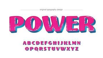 tipografia de desenho animado 3d rosa e azul vetor