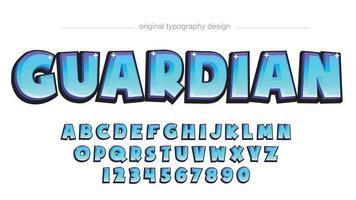 tipografia de desenho animado 3D azul claro vetor