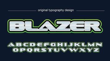 contorno verde metálico esportes tipografia vetor