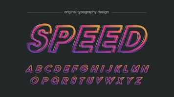 contorno colorido neon em itálico esportes tipografia vetor