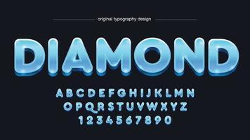 tipografia de desenho animado em 3D arredondado e brilhante azul vetor