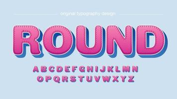 tipografia de desenho animado arredondado rosa e azul vetor