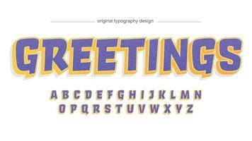 tipografia de desenho animado em 3D amarelo e roxo vetor