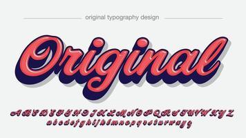 tipografia cursiva itálica 3d vermelha vetor