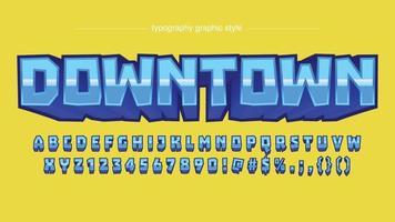tipografia artística de desenho animado 3d azul brilhante vetor