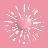 Corações em tons pastel 3D, ilustração vetorial
