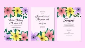 modelo de cartão de convite para casamento botânico folhagem de flores silvestres vetor