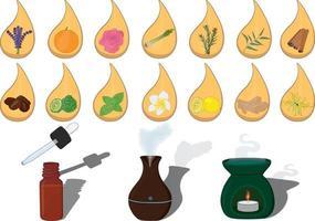 conjunto de ilustração vetorial de aroma de óleo essencial vetor