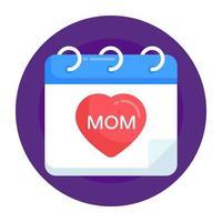 calendário do dia das mães vetor