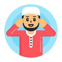 homem muçulmano e avatar vetor