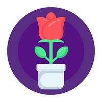 rosa em vaso e planta vetor