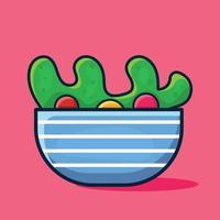 salada de comida isolada ilustração dos desenhos animados em estilo simples vetor