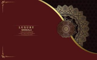 Fundo ornamentado de mandala de ouro de luxo para convite de casamento vetor