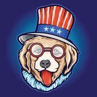 óculos de sol legal do dia do cão com chapéu americano vetor