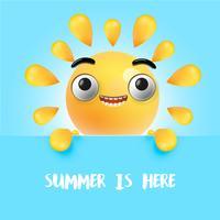 Emoticon ensolarado feliz altamente detalhado, ilustração vetorial